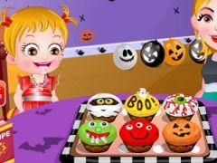 Baby Hazel Cooking Spooky Cupcakes